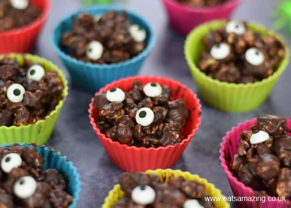 Monster Themed Chocolate Covered Popcorn Balls in Silicone Muffin Cups