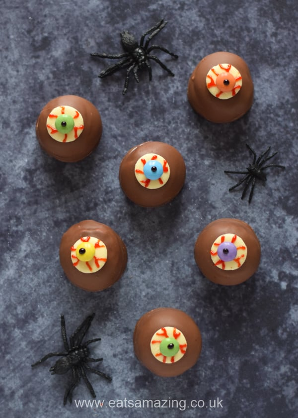 Teacakes with edible chocolate eyeballs fixed on top for an easy Halloween dessert