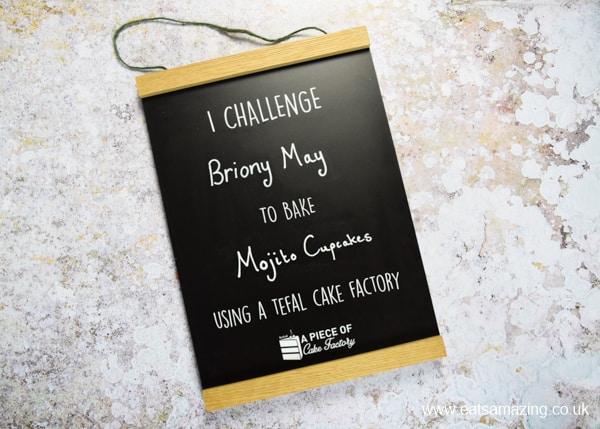 Tefal Cake Factory blogger baking challenge board