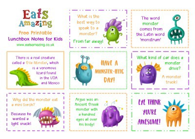 Monster FREE Printable Lunchbox Notes for kids - head over to the blog post to download and print your own set