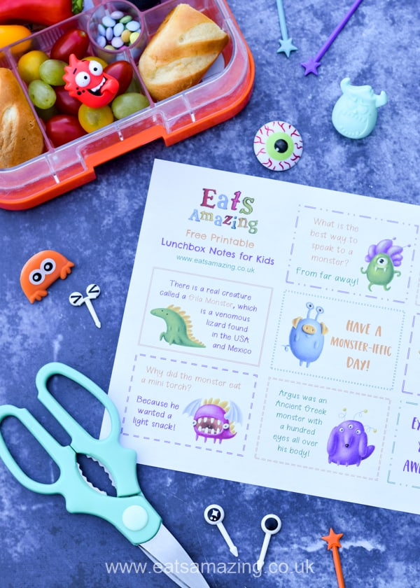 Monster set of FREE Printable lunch box notes for kids - with Monster themed fun facts jokes and quotes