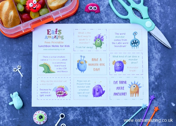 Monster themed printable lunchbox notes for kids - with 8 fun facts jokes and monster quotes to download