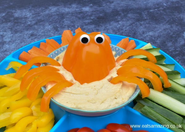 Pepper octopus in a bowl of houmous - fun healthy party food idea