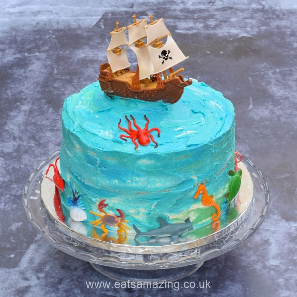 Fun and easy pirate themed cake for kids - with full recipe and step by step instructions to decorate