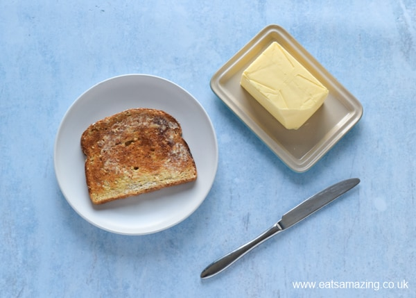 How to Make Beans on Toast - Step 4 butter the toast