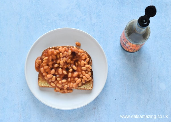 How to Make Beans on Toast - Step 6 sprinkle with Worcestershire sauce