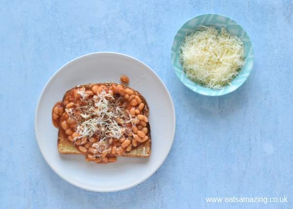 How to Make Beans on Toast - Step 7 top with grated cheese