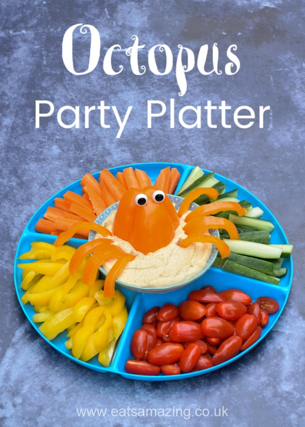 How to make an easy octopus party platter - fun and healthy pirate party food idea for kids