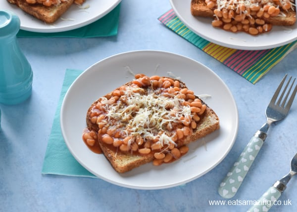 How to make beans on toast - quick and easy recipe for kids with step by step photos
