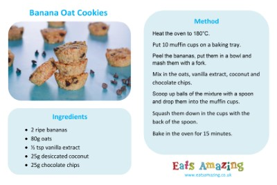 Banana Oat Cookies Recipe Sheet for Kids