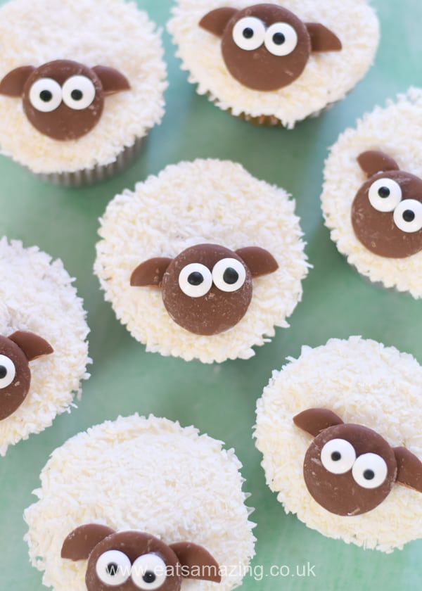 Cute and easy Easter lamb cupcakes recipe - fun sheep themed springtime treat for kids