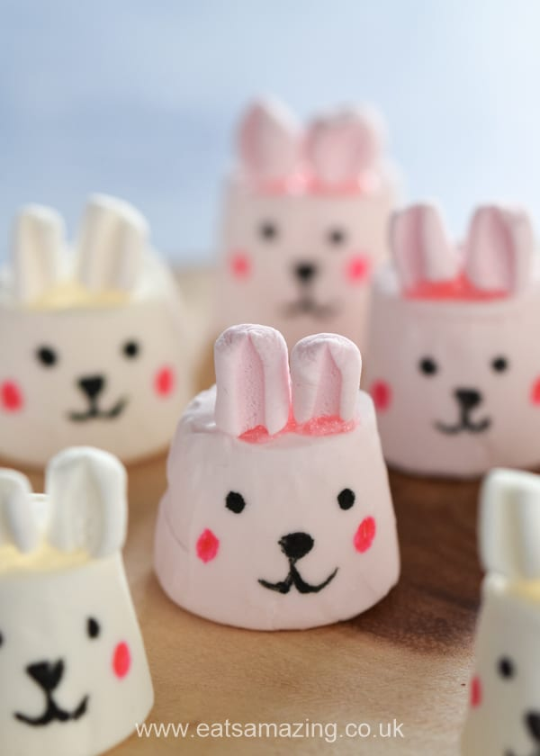 Cute and easy marshmallow bunnies tutorial - fun Easter treat for kids