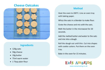 Easy Cheese Oatcakes Recipe Sheet for Kids
