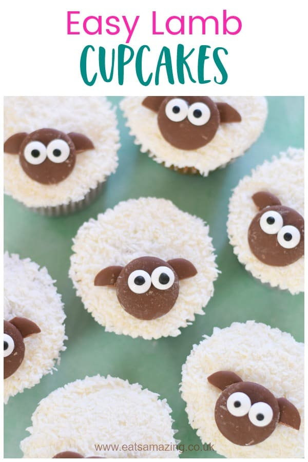 Easy lamb cupcakes recipe - cute treat idea to make with the kids this Easter #EatsAmazing #EasterRecipe #Easter #Cupcakes #FunFood #FoodArt #CakeDecorating #KidsFood