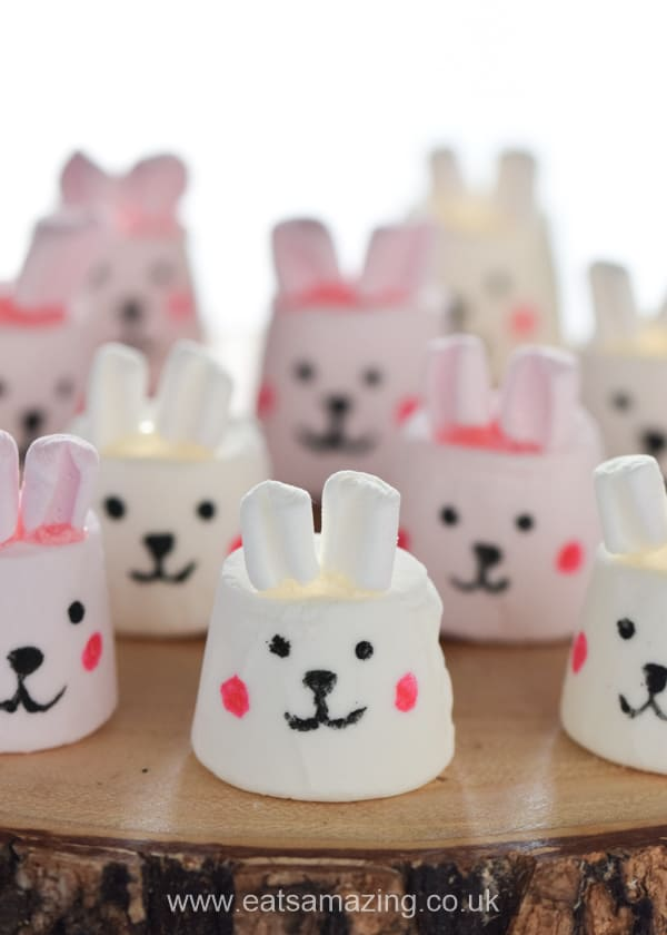 Fun and easy marshmallow Easter bunnies - tutorial for kids with step by step photos