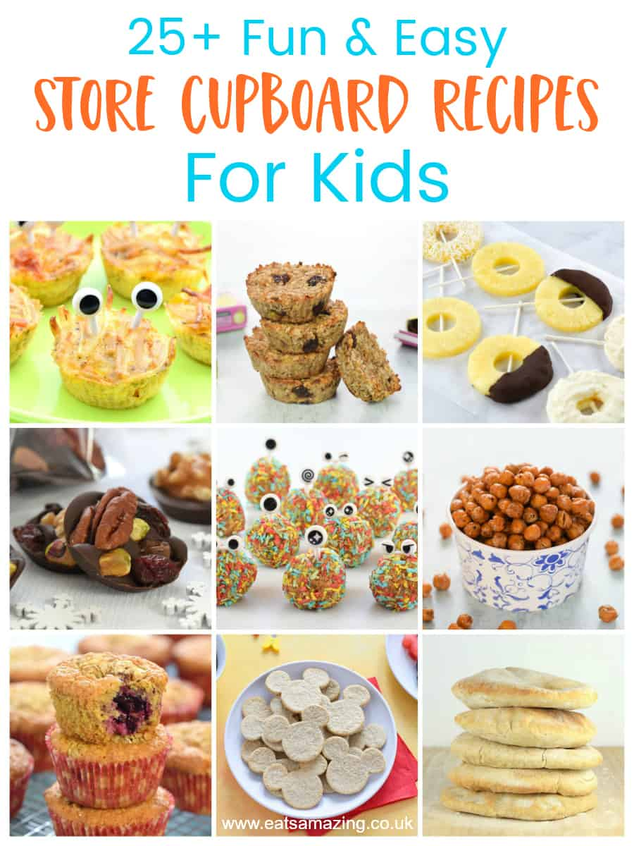 Great list of fun and easy recipes for kids made from store cupboard and easy to find ingredients
