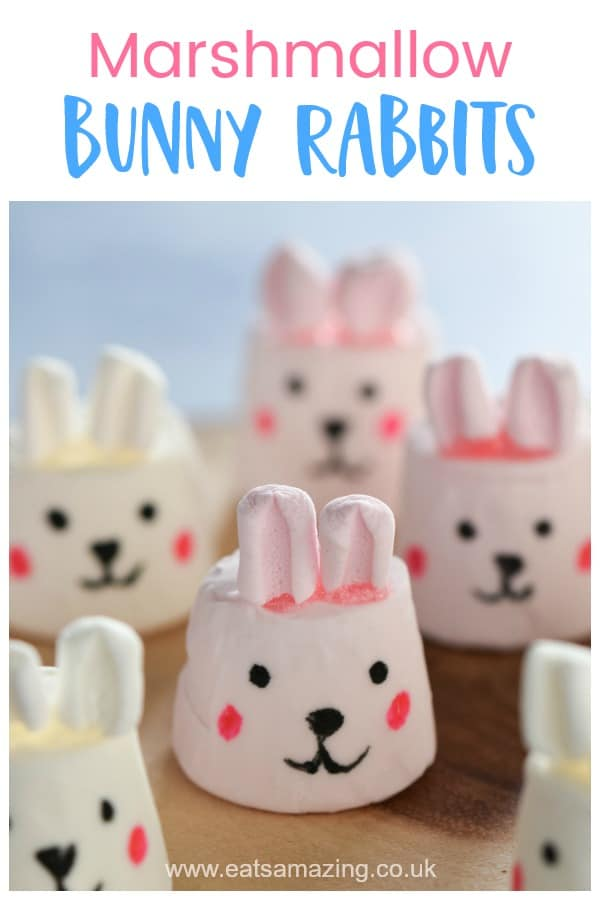 How to make cute bunny marshmallows - fun and easy Easter treat for kids with step by step photo tutorial