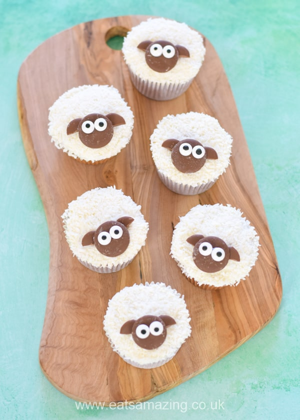 How to make easy cocout lamb themed cupcakes - fun Easter recipe for kids