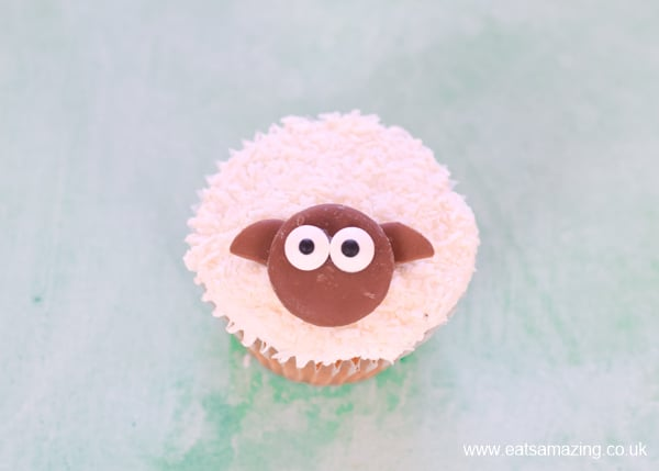 How to make lamb cupcakes - step 4 - push in chocolate button ears to finish