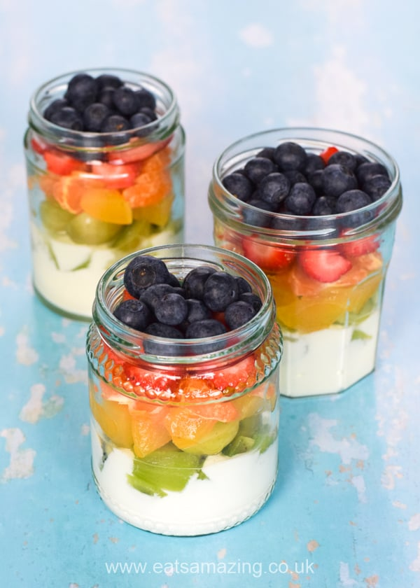 Beautiful Rainbow Fruit Salad in a Jar - fun and healthy recipe for kids