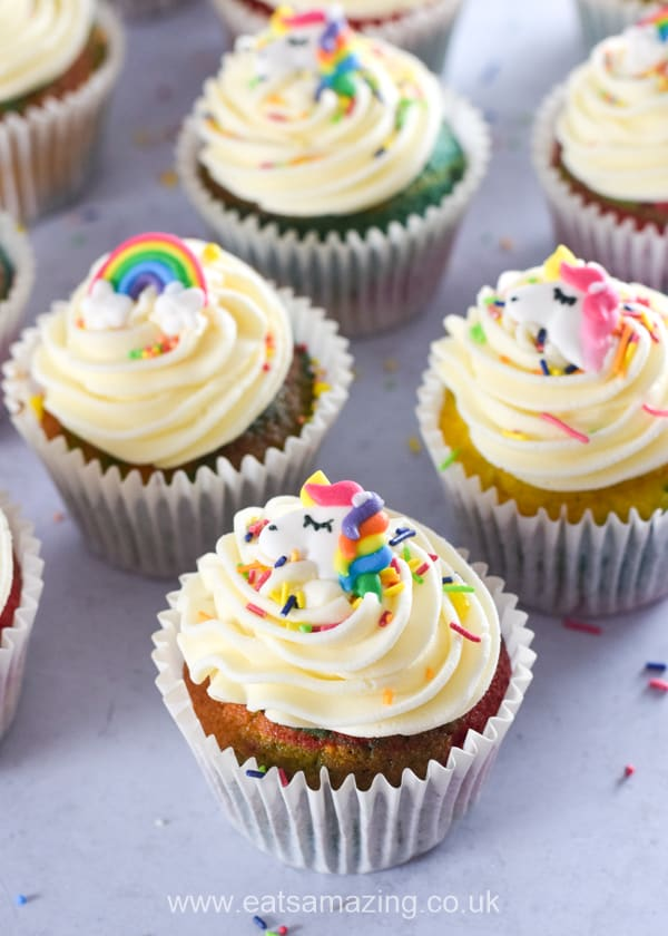 Beautiful but easy rainbow cupcakes recipe - fun rainbow themed food for kids to bake at home