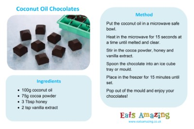 Coconut Oil Chocolate Cubes Recipe - go to blog post for full size printable recipe sheet