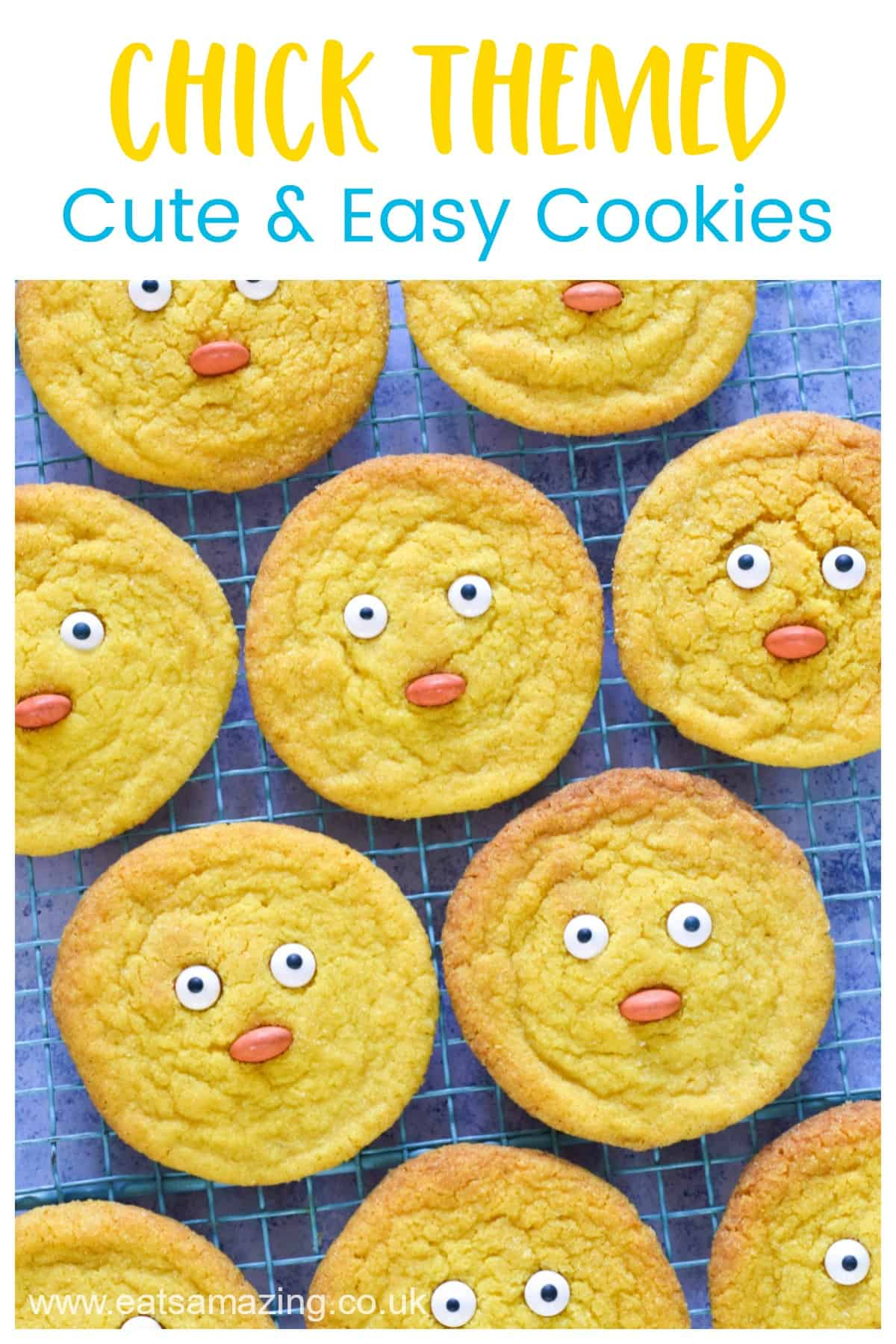 Cute and easy chick themed cookie recipe - fun spring baking project for kids