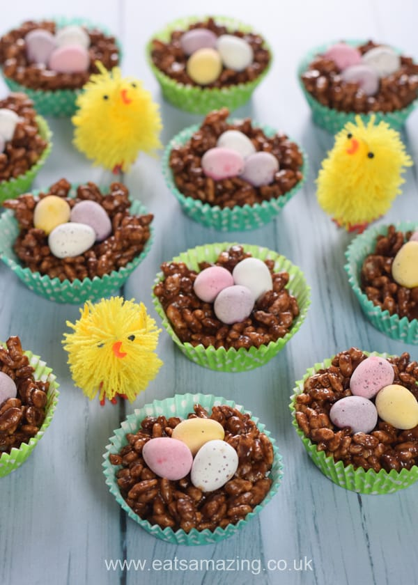 Cute and easy rice crispy nest cakes recipe - fun food for Easter