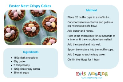 Easter Nest Crispy Cakes Recipe Card