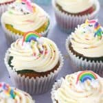Fun and easy rainbow cupcakes recipe with buttercream and rainbow sprinkles