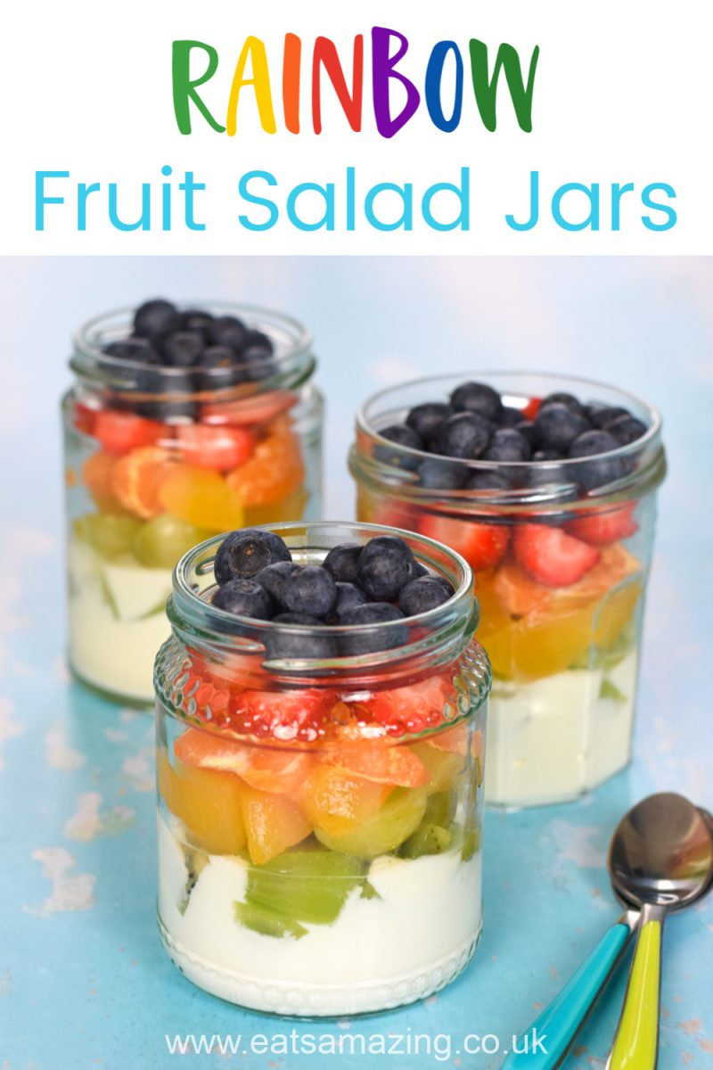 Fun and easy rainbow fruit jars for kids - cute rainbow themed recipe for a healthy dessert or breakfast