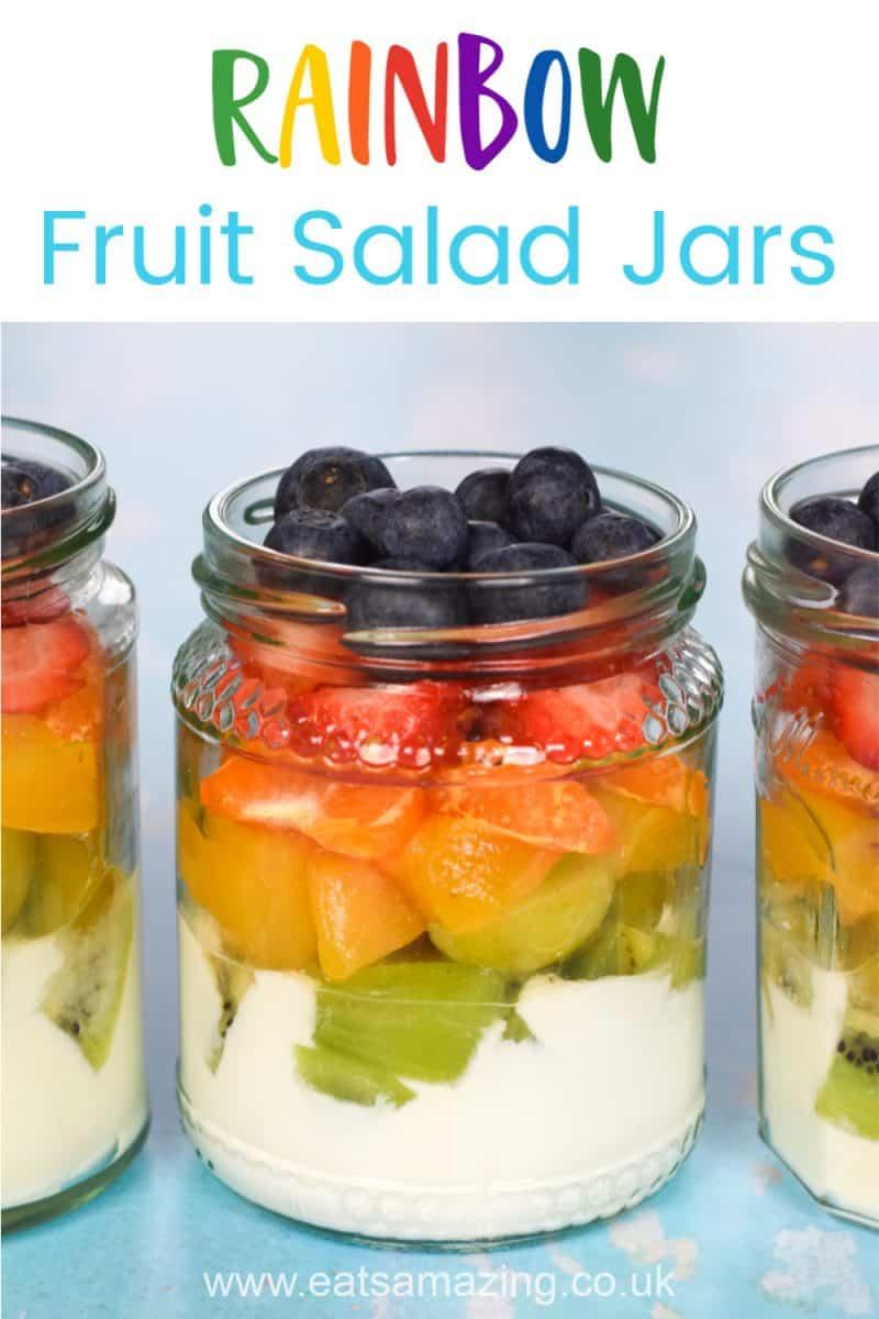 Gorgeous rainbow fruit salad jars recipe - fun and healthy rainbow food for kids