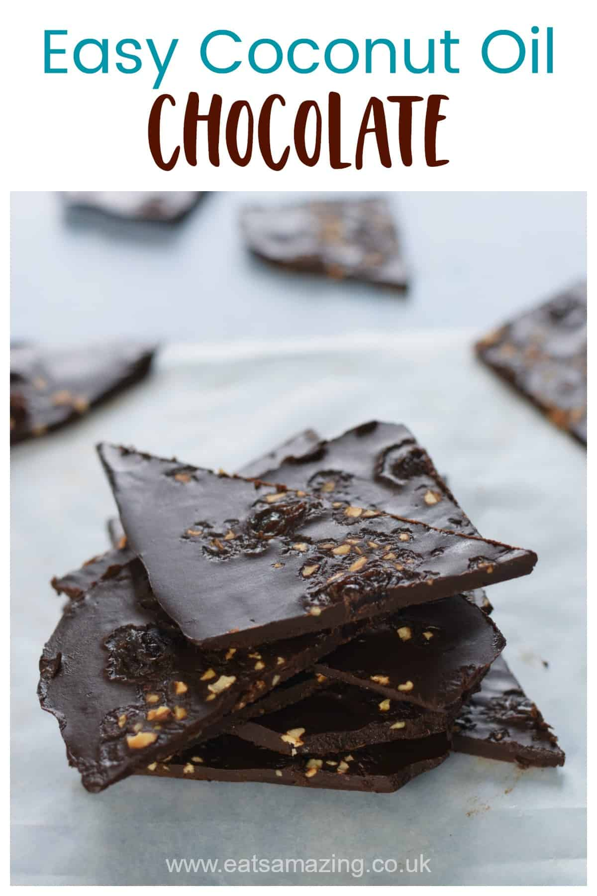 Homemade coconut oil chocolate bark - fun and easy chocolate recipe for kids