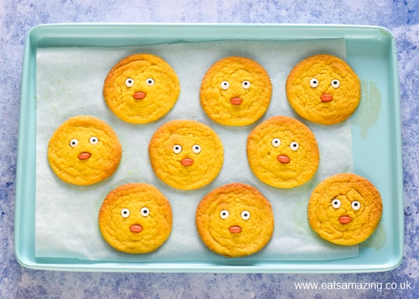 Finished chick cookies on a baking tray