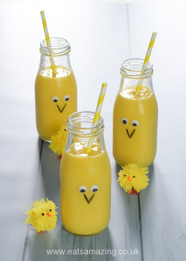 How to make a fun and easy Easter chick smoothie - healthy Easter recipe for kids