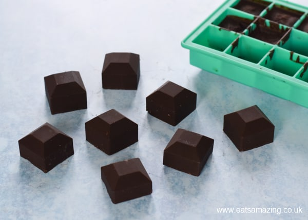How to make coconut oil chocolate - final step pop chocolates from the mould