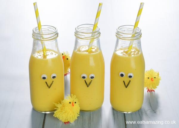 How to make cute Easter chick themed yellow fruit smoothies - fun and healthy Easter recipe for kids