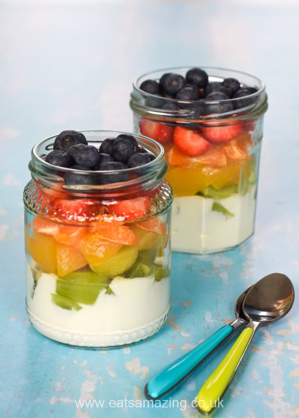 How to make cute and easy rainbow fruit salad jars - fun healthy recipe for kids