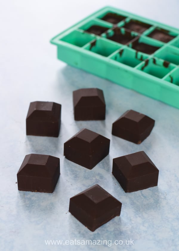 How to make easy chocolates from cocoa powder and coconut oil - fun recipe for kids with free printable recipe sheet