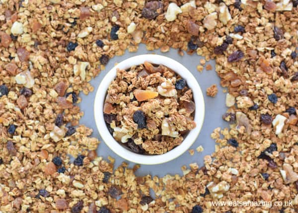 How to make easy homemade granola - healthy breakfast recipe for kids