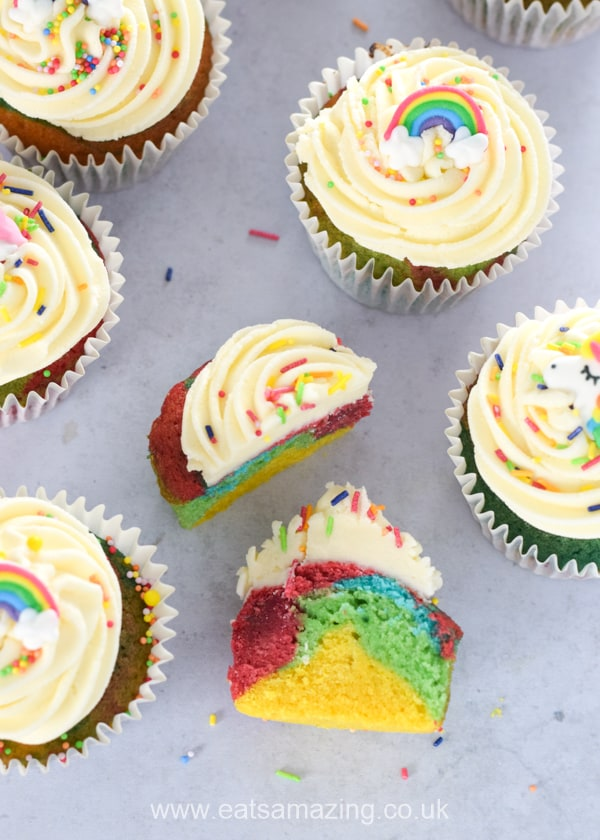 How to make easy rainbow cupcakes - fun rainbow recipe for kids