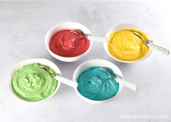 How to make easy rainbow cupcakes - step 1 divide cake mixture into 4 and colour with gel food colourings