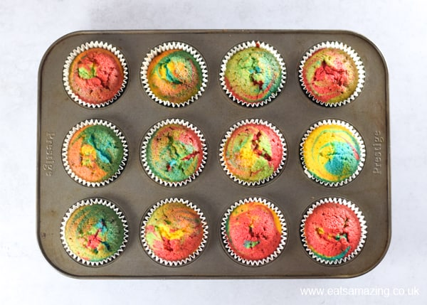 How to make easy rainbow cupcakes - step 4 bake until springy to the touch