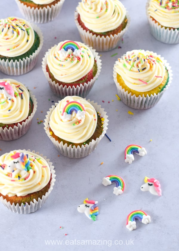 How to make easy rainbow cupcakes - step 7 top with rainbow cake decorations