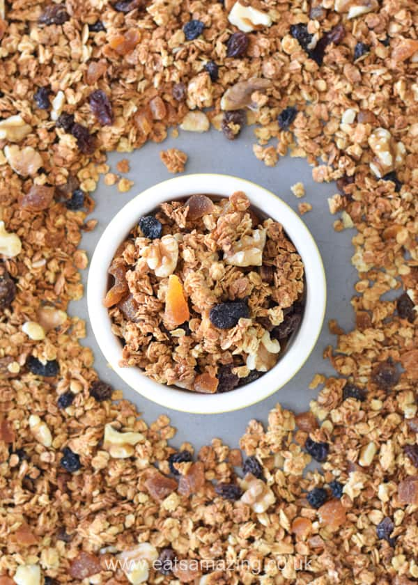How to make homemade granola - easy recipe for kids with step by step photos and printable recipe card