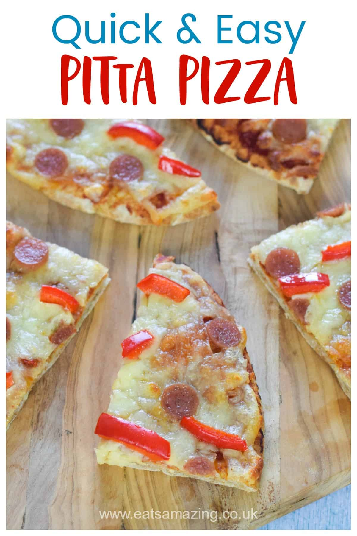 How to make quick pitta pizza - fun and easy recipe for kids with free printable kid-friendly recipe sheet