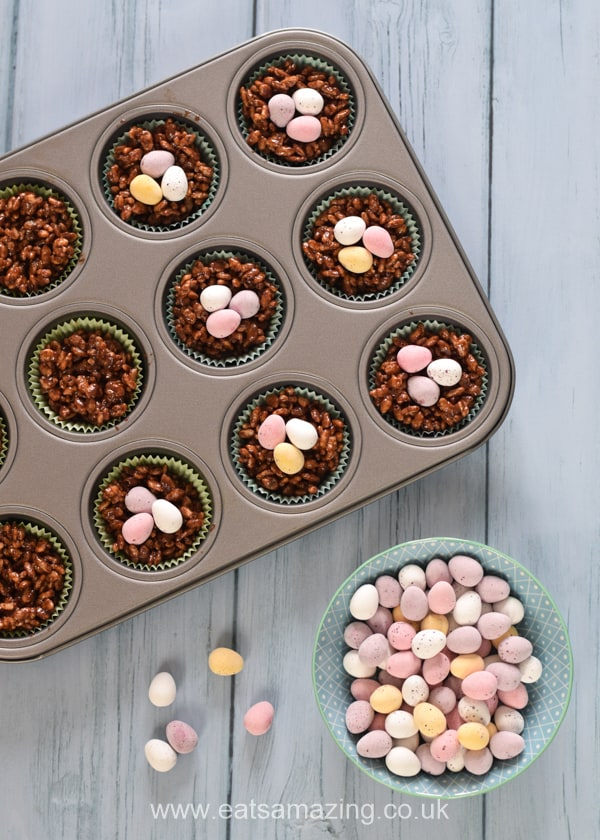 How to make rice crispy nest cakes - step 5 top each cake with 3 mini eggs