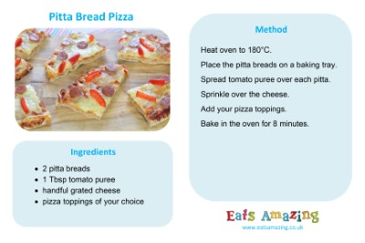 Pitta Bread Pizza Recipe Card for Kids