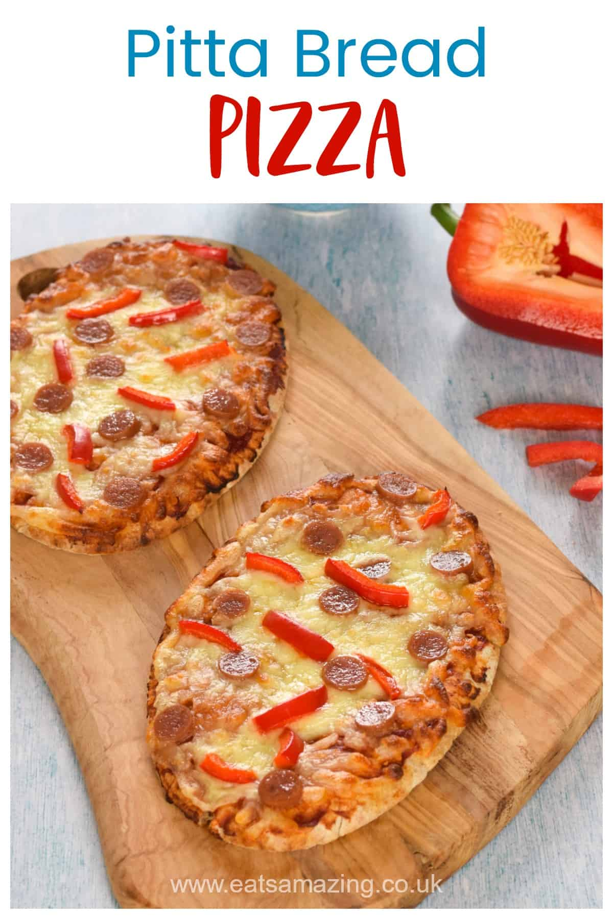 Quick and easy pitta bread pizza - this easy recipe for kids makes a great lunch or midweek dinner
