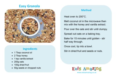 Recipe sheet for easy homemade granola - visit blog post for full size download